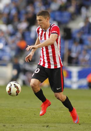 oscar: Oscar de Marcos of Athletic Club Bilbao during a Spanish League match against RCD Espanyol at the Power8 Stadium on April 12 2015 in Barcelona Spain