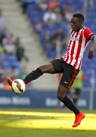 futbol soccer: Inaki Williams Dannis of Athletic Club Bilbao during a Spanish League match against RCD Espanyol at the Power8 Stadium on April 12 2015 in Barcelona Spain