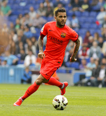 dani: Dani Alves of FC Barcelona during a Spanish League match against RCD Espanyol at the Power8 stadium on April 25 2015 in Barcelona Spain Editorial