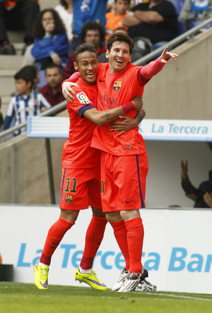 messi: Leo Messi and Neymar of FC Barcelona celebrating goal during a Spanish League match against RCD Espanyol at the Power8 stadium on April 25 2015 in Barcelona Spain