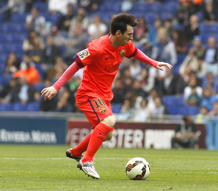 leo messi: Leo Messi of FC Barcelona during a Spanish League match against RCD Espanyol at the Power8 stadium on April 25 2015 in Barcelona Spain