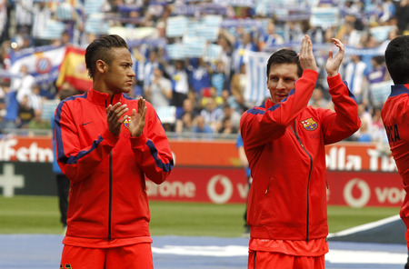 mesi: Leo Messi and Neymar of FC Barcelona clapping hands before a Spanish League match against RCD Espanyol at the Power8 stadium on April 25 2015 in Barcelona Spain