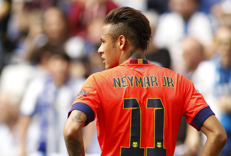 Neymar da Silva of FC Barcelona during a Spanish League match against RCD Espanyol at the Power8 stadium on April 25 2015 in Barcelona Spain