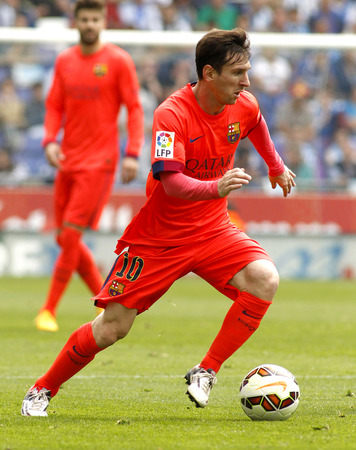 messi: Leo Messi of FC Barcelona during a Spanish League match against RCD Espanyol at the Power8 stadium on April 25 2015 in Barcelona Spain
