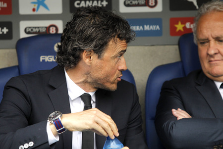 martinez: Luis Enrique Martinez manager of FC Barcelona during a Spanish League match against RCD Espanyol at the Power8 stadium on April 25 2015 in Barcelona Spain