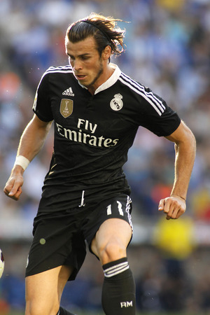 futbol: Gareth Bale of Real Madrid of during a Spanish League match against RCD Espanyol at the Power8 stadium on Maig 17 2015 in Barcelona Spain Editorial