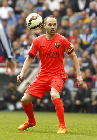 iniesta: Andres Iniesta of FC Barcelona during a Spanish League match against RCD Espanyol at the Power8 stadium on April 25 2015 in Barcelona Spain Editorial