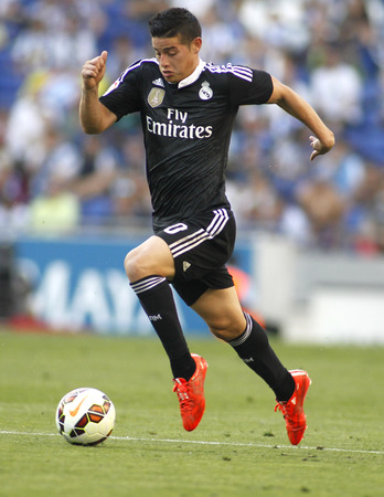 winger: James Rodriguez of Real Madrid of during a Spanish League match against RCD Espanyol at the Power8 stadium on Maig 17 2015 in Barcelona Spain