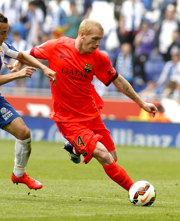 futbol: Jeremy Mathieu of FC Barcelona during a Spanish League match against RCD Espanyol at the Power8 stadium on April 25 2015 in Barcelona Spain