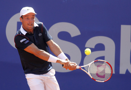 conde: Spanish tennis player Roberto Bautista Agut in action during a match of Barcelona tennis tournament Conde de Godo on April 23 2015 in Barcelona