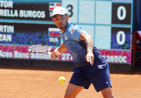 handed: Dominican tennis player Victor Estrella in action during a match of Barcelona tennis tournament Conde de Godo on April 23 2015 in Barcelona Editorial