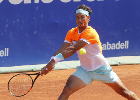 nadal: Spanish tennis player Rafa Nadal in action during a match of Barcelona tennis tournament Conde de Godo on April 23 2015 in Barcelona