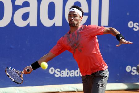 conde: Italian tennis player Fabio Fognini in action during a match of Barcelona tennis tournament Conde de Godo on April 23 2015 in Barcelona Editorial