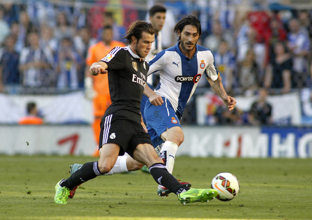 winger: Gareth Bale of Real Madrid during a Spanish League match against RCD Espanyol at the Power8 stadium on Maig 17 2015 in Barcelona Spain
