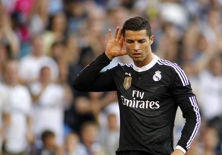 スペイン リーグ中にゴールを祝ってレアル ・ マドリードのクリスティアーノ Ronaldo Maig バルセロナ スペイン 17 2015年の power 8 スタジアムで RCD エス