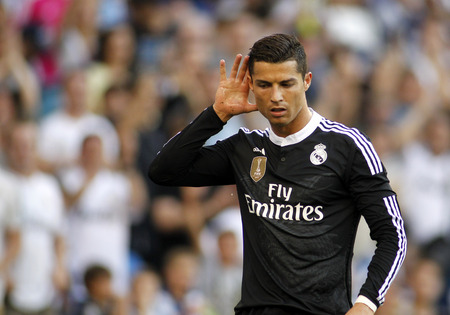 Cristiano Ronaldo of Real Madrid celebrating a goal during a Spanish League match against RCD Espanyol at the Power8 stadium on Maig 17 2015 in Barcelona Spain