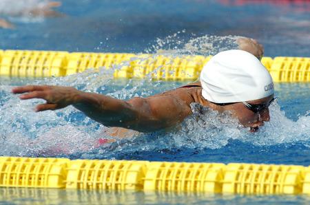 piscina olimpica: Hungarian swimmer Katinka Hosszu swimming butterfly during the Trophy Ciutat de Barcelona in Sant Andreu Club June 10 2015 in Barcelona Spain