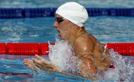 piscina olimpica: Nadadora h�ngara Katinka Hosszu nataci�n braza durante el Trofeo Ciutat de Barcelona, ??en Sant Andreu del Club 10 de junio 2015 en Barcelona Espa�a