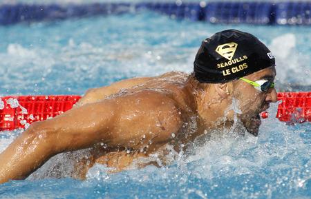 piscina olimpica: Sur nadador Chad le Clos Mariposa de la natación durante el Trofeo Ciutat de Barcelona, ??en Sant Andreu del Club 10 de junio 2015 en Barcelona España Editorial