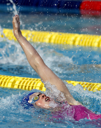 backstroke: British swimmer Hannah Miley swimming backstroke during the Trophy Ciutat de Barcelona in Sant Andreu Club June 10 2015 in Barcelona Spain Editorial