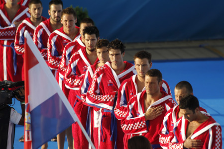 waterpolo: Croatian national Waterpolo Team posing before a match against Hungary during a World Championship BCN2013 at the Picornell Swimming pool on August 1 2013 in Barcelona Spain Editorial