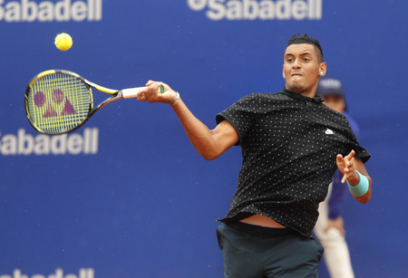 nick: Australian tennis player Nick Kirgios in action during a match of Barcelona tennis tournament Conde de Godo on April 22 2015 in Barcelona