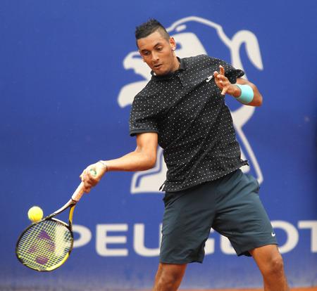 conde: Australian tennis player Nick Kirgios in action during a match of Barcelona tennis tournament Conde de Godo on April 22 2015 in Barcelona