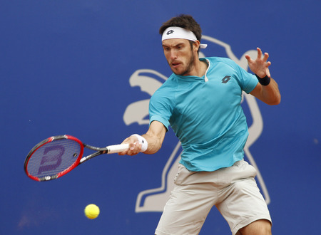 argentinian: Argentinian tennis player Leonardo Mayer in action during a match of Barcelona tennis tournament Conde de Godo on April 22 2015 in Barcelona