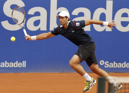 pablo: Spanish tennis player Pablo Andujar in action during a match of Barcelona tennis tournament Conde de Godo on April 22 2015 in Barcelona