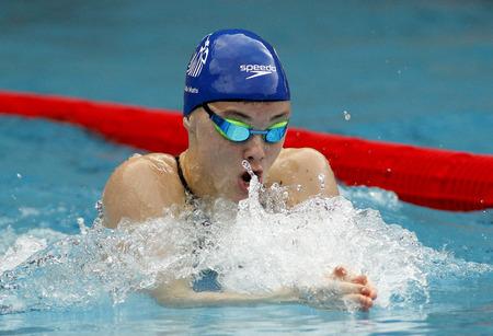 medalist: British swimmer Katie Matts swimming breaststroke during the Trophy Ciutat de Barcelona in Sant Andreu Club, June 11, 2015 in Barcelona, Spain