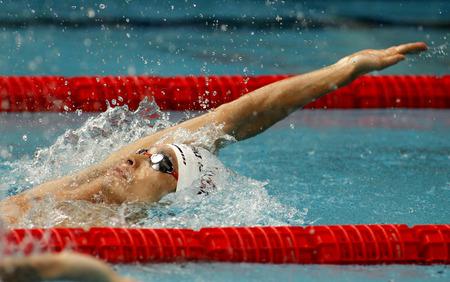 medalist: Japanese swimmer Ryosuke Irie swimming backstroke during the Trophy Ciutat de Barcelona in Sant Andreu Club, June 11, 2015 in Barcelona, Spain Editorial