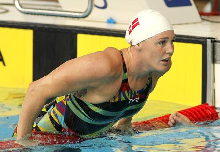 piscina olimpica: Danish swimmer Jeanette Ottesen after swimming butterfly during the Trophy Ciutat de Barcelona in Sant Andreu Club, June 11, 2015 in Barcelona, Spain