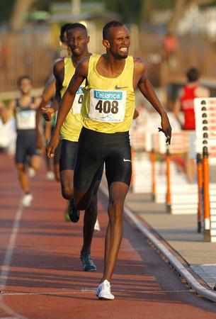 medalist: Djiboutian athlete Ayanleh Souleiman during 1500 meters of the Athletics International Meeting of Catalan Federation at the Serrahima Stadium on July 8 2015 in Barcelona, Spain Editorial