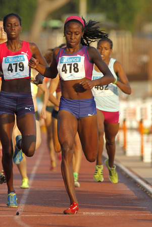 medalist: Cuban athlete Rose Mary Almanza during 1500 meters of the Athletics International Meeting of Catalan Federation at the Serrahima Stadium on July 8 2015 in Barcelona, Spain