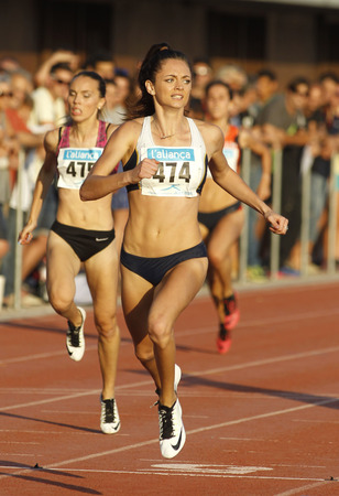 ella: Australian athlete Ella Nelson during 200 meters of the Athletics International Meeting of Catalan Federation at the Serrahima Stadium on July 8 2015 in Barcelona, Spain
