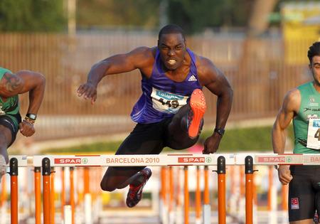 jamaican man: Jamaican athlete Dwight Thomas during 110 m hurdles of the Athletics International Meeting of Catalan Federation at the Serrahima Stadium on July 8 2015 in Barcelona, Spain