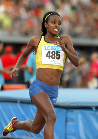 meters: Ethiopian athlete Genzebe Dibaba during 1500 meters of the Athletics International Meeting of Catalan Federation at the Serrahima Stadium on July 8 2015 in Barcelona, Spain