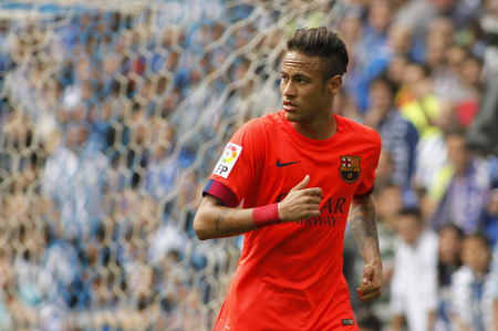 during: Neymar da Silva of FC Barcelona during a Spanish League match against RCD Espanyol at the Power8 stadium on April 25 2015 in Barcelona Spain