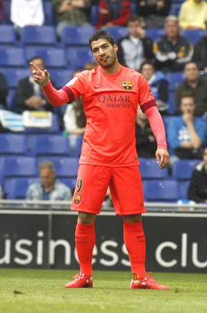 winger: Luis Suarez of FC Barcelona during a Spanish League match against RCD Espanyol at the Power8 stadium on April 25, 2015 in Barcelona, Spain
