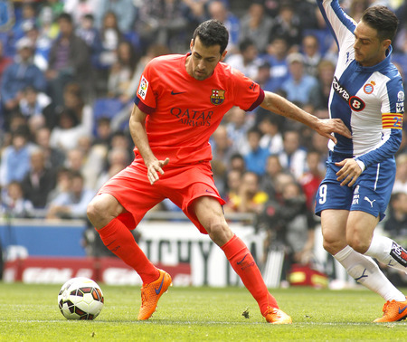 sergio: Sergio Busquets of FC Barcelona during a Spanish League match against RCD Espanyol at the Power8 stadium on April 25 2015 in Barcelona Spain
