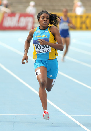 bahamian: Rashan Brown of Bahamas in action on 400 meters of the 20th World Junior Athletics Championships at the Olympic Stadium on July 11, 2012 in Barcelona, Spain