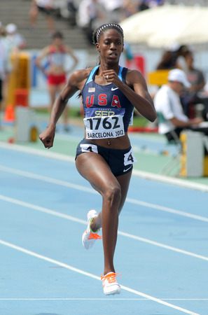 finalist: Ashley Spencer of USA in action on 400 meters of the 20th World Junior Athletics Championships at the Olympic Stadium on July 11, 2012 in Barcelona, Spain