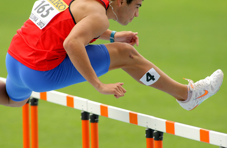 finalist: Patricio Colarte of Chile during 110m hurdles event of the 20th World Junior Athletics Championships at the Olympic Stadium on July 10, 2012 in Barcelona, Spain