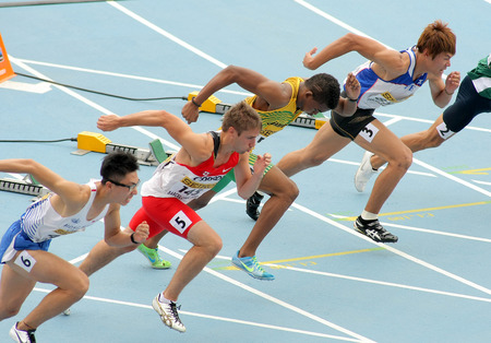 finalist: Competitors on start of 110m men hurdles during the 20th World Junior Athletics Championships at the Olympic Stadium on July 10, 2012 in Barcelona, Spain