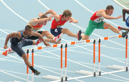 finalist: Competitors of 110 meters hurdles during the 20th World Junior Athletics Championships at the Olympic Stadium on July 10, 2012 in Barcelona, Spain