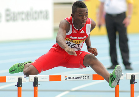 finalist: Ruebin Walters of Trinidad  Tobago during 110m hurdles event of the 20th World Junior Athletics Championships at the Olympic Stadium on July 10, 2012 in Barcelona, Spain Editorial