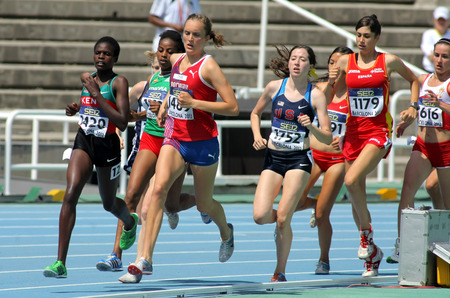 mid distance: Competitors on 1500m women envent during the 20th World Junior Athletics Championships at the Olympic Stadium on July 13, 2012 in Barcelona, Spain Editorial