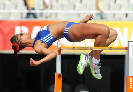finalist: Dior Delophont of France jumping on Hight jump event of of the 20th World Junior Athletics Championships at the Olympic Stadium on July 13, 2012 in Barcelona, Spain