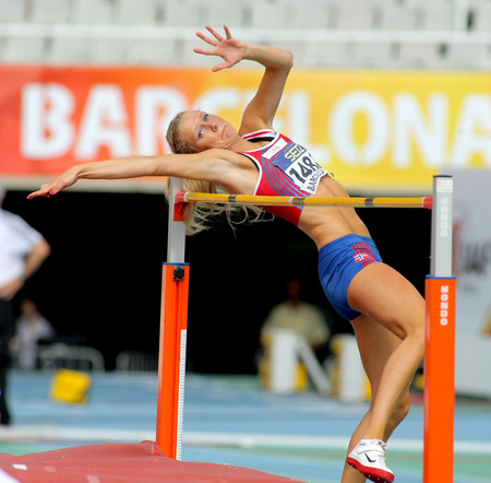 finalist: Anne Engen Andersen of Norway jumping on Hight jump event of of the 20th World Junior Athletics Championships at the Olympic Stadium on July 13, 2012 in Barcelona, Spain