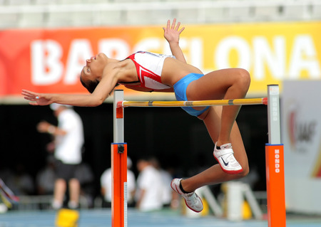 finalist: Lucija Zubcic of Croatia jumping on Hight jump event of of the 20th World Junior Athletics Championships at the Olympic Stadium on July 13, 2012 in Barcelona, Spain Editorial